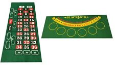 NEW BLACKJACK AND ROULETTE REVERSABLE FELT LAYOUT 80 by 35 cm