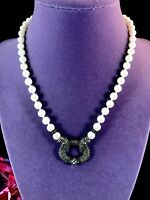 GORGEOUS SIGNED JUDITH JACK FAUX PEARL NECKLACE STERLING MARCASITE PENDANT