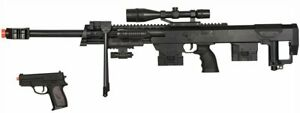 2 in 1 Package M82 M107 Bolt Action Spring Sniper Rifle 6mm Gun with Pistol