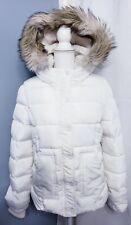 American Eagle Vegan Down Jacket Fur Trim Hood Women's size LARGE