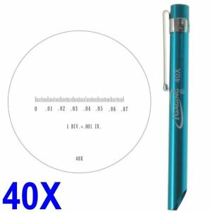 """Pocket Magnifier Microscope 40X Reticle Scale 0-0.07"""" 0.082"""" FOV iGaging"""