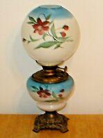 Antique Ornate Victorian Success Blue & White GWTW Oil Lamp w/ Globe (Original)