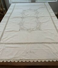 "VINTAGE ECRU 52"" X 68"" TABLECLOTH WITH CUTOUTS AND EMBROIDERY"