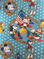 Vtg Disney Mickey Minnie Mouse 1776 TWIN SHEET SET Flat Fitted Pillowcase Goofy