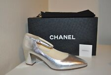 CHANEL Mary Jane Silver Leather Ankle Strap Almond Toe Pump Block Heel Shoe 40