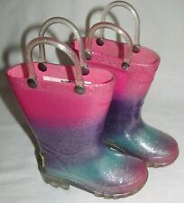 Western Chief Pink Glitter Ansley Light Up Rubber RainBoots Toddler Girls Size 5