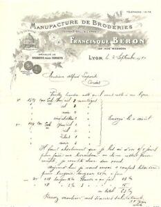 Ancienne Facture FRANCIQUE BÉRON Manufacture de Broderie à Lyon 1910