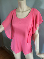 BNWT Ladies Sz L/14 Katies Brand Pretty Watermelon Flutter Sleeve Top RRP $30