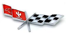 NEW 1978-1979 Corvette Fuel Door Emblem / USA-Made Gas Lid Cross-Flag Logo Badge