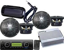 New Pyle Marine Boat MP3 AUX WB Radio Media Receiver 4 Speakers 400W Amp /Cover
