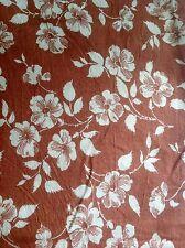 Vintage Bright Copper Brown White Flower Design Feed Sack Bag