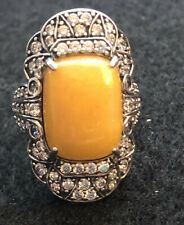 """Jade of Yesteryear Yellow Jade and CZ Sterling Silver """"Art Deco"""" Ring Size 7.5"""