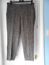 bnwt new ladies next stunning smart 3/4 black & white mix trousers size 12 long