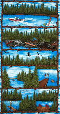 "Fish Boat Ski Summer Vacation Cotton Fabric Riverwoods Outdoor Fun 24""X44"" PANEL"