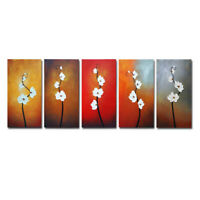 Modern Abstract Floral Hand Painted Oil Painting Home Decor Wall Art Framed 5pcs