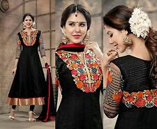 BLACK DESIGNER ANARKALI COTTON SALWAR KAMEEZ SUIT DRESS MATERIAL LADIES DEN