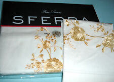 Sferra Rosina Twin Embroidered Flat Sheet & Sham Case White/Yellow 406TC Percale