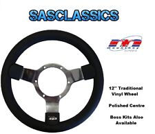 TRADITIONAL 12'' INCH MOUNTNEY STEERING WHEEL - POLISHED CENTRE - 23SPVB - NEW