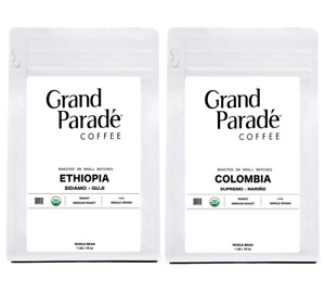 Organic Ethiopian & Colombian Fresh Medium Roasted Coffee Sampler, 1 LB Each