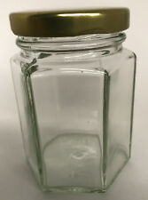 HEXAGONAL GLASS JAM JAR -  100 X  4oz (110ML) -  HEX JAMJARS -  WEDDINGS, HONEY
