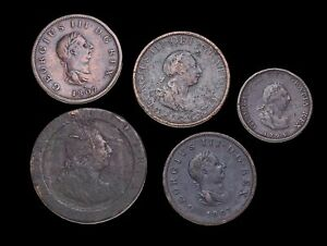 GREAT BRITAIN. George III, Farthing, Halfpenny and Cartwheel Penny, Lot of 5