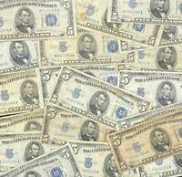 (1) 1934 $5 Dollar Blue Seal Silver Certificate Note FIVE Bill Lot Estate Sale