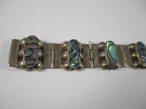 """Vintage TAXCO CMP Mexico 925 Sterling Silver Abalone Shell 7"""" Link Bracelet"""