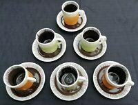 VINTAGE SET 6 1960's ITALIAN ESPRESSO COFFEE CUPS & SAUCERS ORANGE/GREEN EX CON