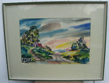 1930s CALIFORNIA MOUNTAIN FARM Lg Watercolor Painting JOSEPH GAVAN IMPRESSIONIST