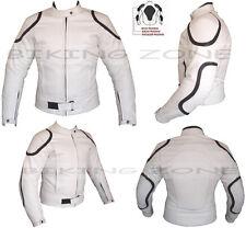 WHITE HORIZON MENS CE ARMOUR CUSTOMISED MOTORBIKE / MOTORCYCLE LEATHER JACKET