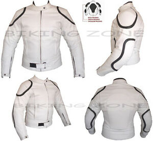 WHITE HORIZON MENS ARMOURED CUSTOMISED MOTORBIKE / MOTORCYCLE LEATHER JACKET