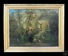 Dipinto olio su tela scena di vita contadina - Eugène Appert - metà '800