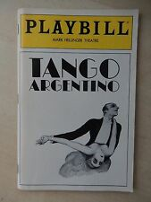 November 1985 - Mark Hellinger Theatre Playbill - Tango Argentino - Timoyko