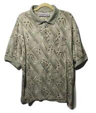 Michael Austin Golf Polo Shirt Golf Club Pattern Mens 2XL Green Multicolor