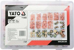 Yato YT-06864 Öl-Ablassschrauben Kupferdichtungen Set 534tlg Kfz Werkstatt