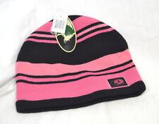 Mossy Oak Womens Striped Knit Beanie Hat Pink & Black NEW