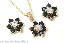 9ct Gold Sapphire and CZ Cluster Pendant and Earring Set Gift Boxed Made in UK