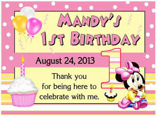 15 BABY MINNIE MOUSE 1ST BIRTHDAY PARTY FAVORS MAGNETS