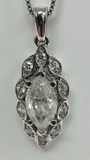 14k white gold pendant with diamonds 1.03ct mq  F color I2  quality chain not in