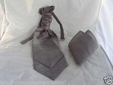<GG> Dark Grey-Pewter-MENS Ruche Wedding Polyester Tie-Cravat and Hankie Set
