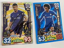2x Chelsea  Football Autographs Signed Cards  William & Morata