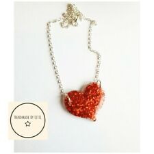 Resin Glitter Heart Necklace 💕39mm💕silver Plated Chain💕red