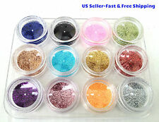 New 12-Color Pots Nail Art Glitter Dust Powder UV Gel Acrylic Tips Decoration DI