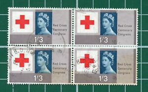 GB Red Cross good used block of 4 1/3 stock number 149