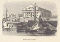 Saint Petersbourg stock exchange Genuine Antique french print by Breton 1843