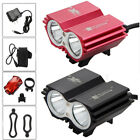 Rechargeable 6000LM 2x XML U2 LED Bike Bicycle Headlight Headlamp Rear Light