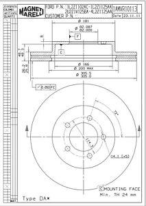 Disc Brake Rotor-XLS Front Magneti Marelli 1AMVR10113