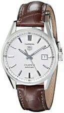 WAR211B.FC6181 Tag Heuer Carrera Automatic Silver Dial Brown Leather Mens Watch