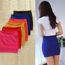 Womens Plain Bodycon Stretch Mini Skirt Office High Waist Bandage Pencil Skirt@