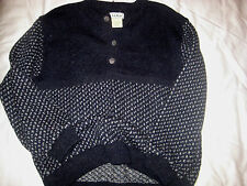 LL BEAN NORWAY SOFT BLUE WOOL SILVER ETCHED BUTTONS BIRDSEYE POLO SWEATER-NWOT-L